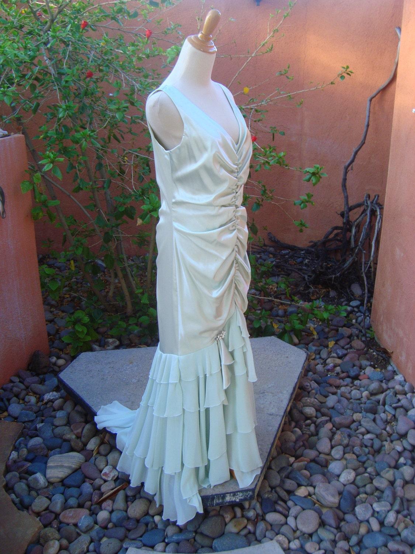 Vintage Jessica Mclintock Seafoam Green Long Mermaid Formal