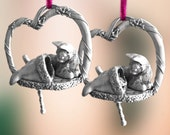 Pewter Cat with stocking Christmas Ornament