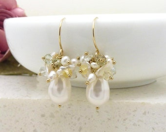 Gold and white pearl cluster earrings, 14kt gold fill swarovski and keishi pearl teardrop earrings with yellow and blue aquamarine