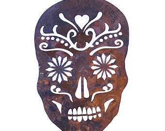 Sugar Skull Metal Garden Art Stake-Day of the Dead- Home and Garden Decor