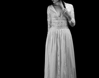 1910 - Edwardian Style Cotton Lace Wedding Dress  - Made to Order - FREE SHIPPING WORLDWIDE