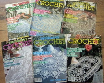 vintage 80s 90s Decorative Crochet magazines OOP doilies tablecloths bedspreads 6 magazines lot #1