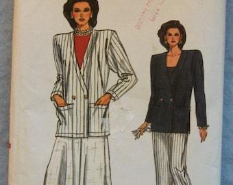 Vintage 80s Vogue pattern 9791 Misses JACKET,SKIRT,PANTS uncut sz 8-10-12