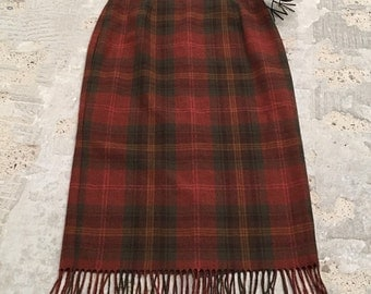Plaid Skirt in Rust Olive Green and Gold - Straight Skirt Fringe Hem - Back to School - Traditional Classic for Fall Autumn - 30 32 Waist