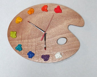 Art Palette Wall Clock with Paint - BRIGHT Color Collection - Unique Art Studio Decor or Artist Gift