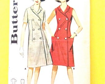 Butterick 2938  Misses' A-line Dress double breasted, notched collar Short sleeves Sleeveless with pockets Vintage Sewing Pattern Bust 34