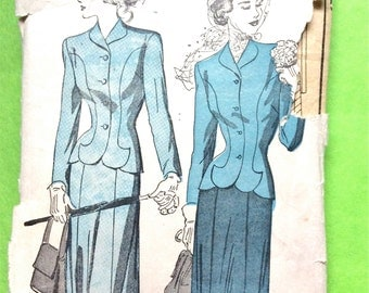 1940s Misses' Suit Jacket Slim Skirt Side Zipper  Princess Seams Fitted Jacket Vintage Sewing Pattern Bust 30 Waist 25 inches