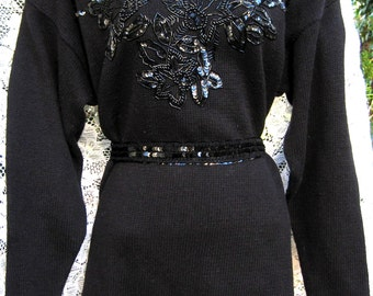 Plus Size Sheer Black SEQUIN Cotton Ramie Victorian style LONG sweater, maybe MINI Dress for some, black sequined sweater, 1980s 80s beaded
