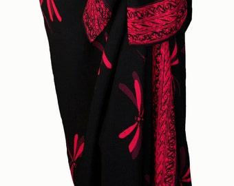 Dragonfly Beach Sarong Pareo Wrap Womens Clothing Black Sarong with Red & Burgundy - Batik Sarong Elegant Beachwear Swimsuit Cover Up - Gift
