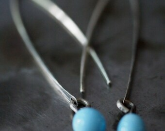 Handmade melted glass drop and hammered sterling silver stick earrings
