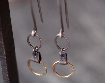 Lighweight, feminine, industrial hanging 18k yellow gold hoop dangle earrings