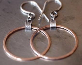 Sexy lightweight mixed metal 14k pink gold hoop earrings