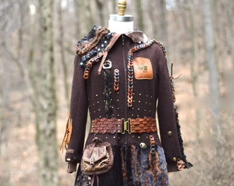 Brown tattered long Military style steampunk sweater COAT, Plus size.Ready to ship