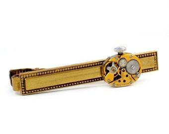 Antique 1950's Gold Hamilton Watch Movement Steampunk Tie Bar Alligator Clip