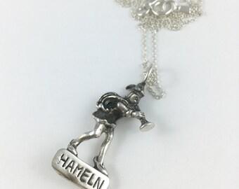 Pied Piper Charm, Hamelin Charm, Nursery Rhyme Necklace, Pied Piper of Hamelin, Spoon Necklace, Spoon Jewelry, Cutlery Jewelry