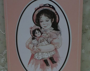 Pretty Girl Holding Doll-Pink Dress-Hat-Watercolor Print-Jan Hagara-Vintage Greeting Card