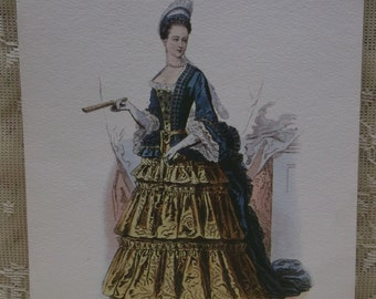 Beautiful Victorian Lady-1800's Fashion Dress-Hat-Fan-Pearls-Artist Signed Litho Print