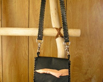 """Black and Metallic Copper Leather Purse, Cross-body Bag, whip-stitched, magnetic snap, 44"""" removable leather strap, 7"""" x 7""""  x 1.5"""""""