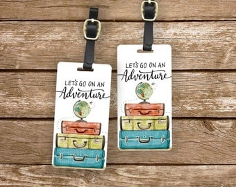 Luggage Tag Set Lets go on an Adventure Watercolor Suitcase Globe Metal Luggage Tag Set With Custom Info On Back, 2 Tags Choice of Straps