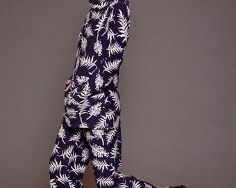 foliage print winter wide pants