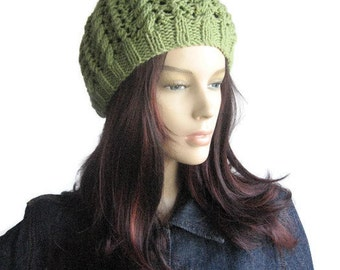 Hand Knit Hat, Fern Green Cables and Lace Beanie, The Scarlett Beanie, Knit Beanie, Green Knit Cap, Womens Accessories