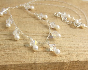 Necklace with Freshwater Pearls and Swarovski Crystal Drops CDN-667
