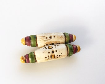 Boho Tube Beads in Ivory, Purple, Green, and Yellow-- Rustic Primitive Folk Style Bead Pair