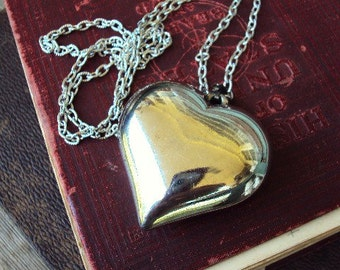 Vintage Silver Plate Puffy Heart Necklace Large Pendant Long Chain 1970s 70s Jewelry Textured Ornate Chain Antique Silver Metal