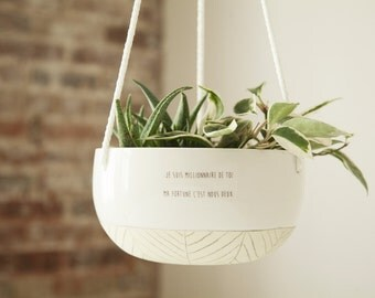 Large ceramic hanging planter. Plant hanger, succulent pot, terrarium. Yellow and white, modern pottery with love quote