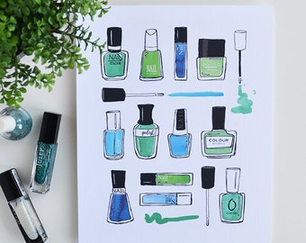 Nail Polish, Nail Art, Watercolor, Colorful, I love nail polish, Mani, Manicure, Bathroom decor, Wall Art, Teen girl, Teenagers room, ART
