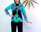SALE 50% OFF Emilio Pucci Velvet Jacket/ Authentic 70s Pucci/ Aqua Blue Black Purple Swirl Pattern/ Vintage 1970s Psychedelic Print/ Double