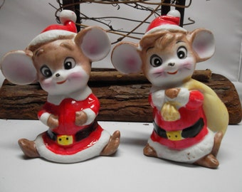 Pair of Bisque Porcelain Christmas Mice Taiwan