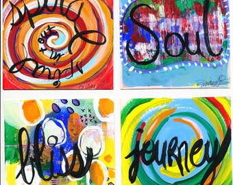 INSTANT DOWNLOAD 4x4 Art Cards-Affirmations & Word of the Year Cards (Set of 12)