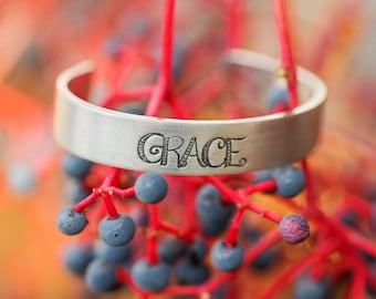Custom Word Bracelet/ Custom Silver Bracelet Cuff/ Grace Jewelry/ Word of the Year/ Engraved Silver Bracelet/ Quote Jewelry