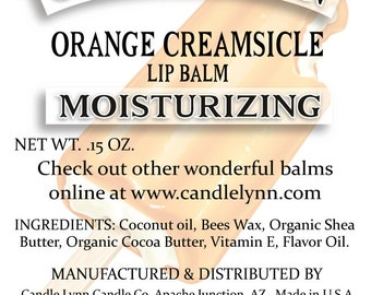 Orange Creamsicle Lip Balm by Candle Lynn - Made with Organic Shea and Cocoa Butters