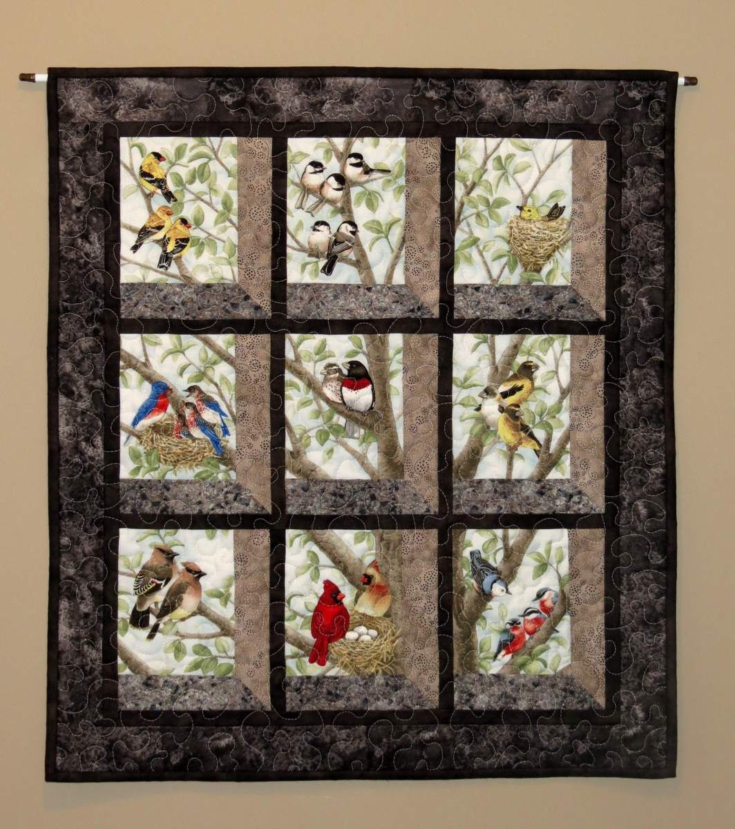 Quilted and pieced wall hanging attic window birds in tree for Window quilt