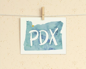 Portland Love instant download printable wall art 8x10 - PDX, Heart Portland, Oregon State Map