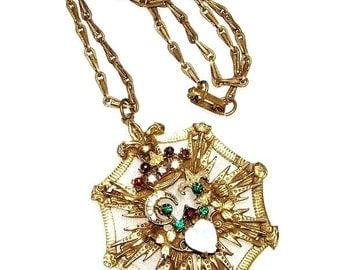 Opaline Glass Heart Pendant Necklace