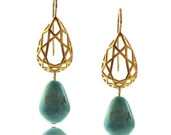 Turquoise Earrings, Geometric Earrings, Pear Shaped Eaarrings, December Birthstone, Gifts for Her, Bridal Earrings, Boho Earrings