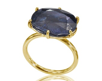 Sapphire Engagement Ring, September Birthstone, Stackable Sapphire Ring, 14K Solid Gold Sapphire Ring, Gifts for Her, Unique Engagement Ring