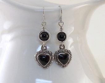 Black Heart Earrings - Silver Earrings - Wire Earrings - Small Earrings - Black and Silver Earrings - Lightweight Earrings - Silver Plated