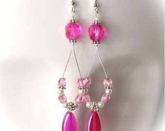 Pink Czech Glass Oval Hoop Dangle Earrings