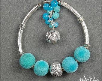 Silver Aqua Teal bracelet