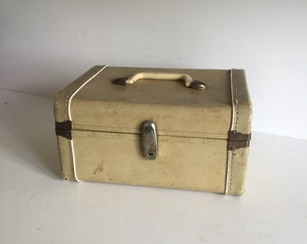 Vintage White Cream Color Train Case - Distressed Make Up Overnight Travel Luggage