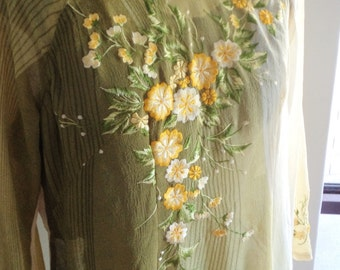 vintage dress, holiday resort, cruise holiday, kaftan look dress,bohemian dress, embroidered dress,  long green dress,
