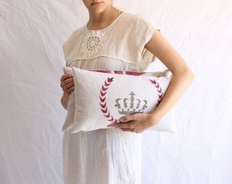 stenciled crown pillow down filled 10 x 18