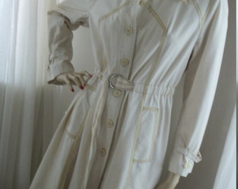 Vintage 1970s Princess Trenchcoat Raincoat Size M Amazing One of a Kind Redesign