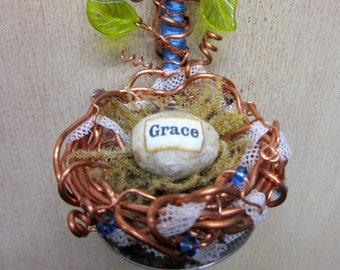 Nature Inspired Copper Wire Nest with Decoupage Egg and Vines Altered Silverware Wall Art Assemblage