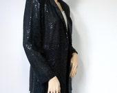 Tuxedo Jacket Women's Vintage 1980's Sequin Black Sparkle Blazer Semi Sheer Fredericks of Hollywood Size 5 - 6