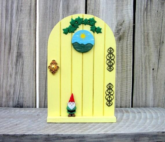 Fairy door yellow door for fairies painted by for Painted fairy doors